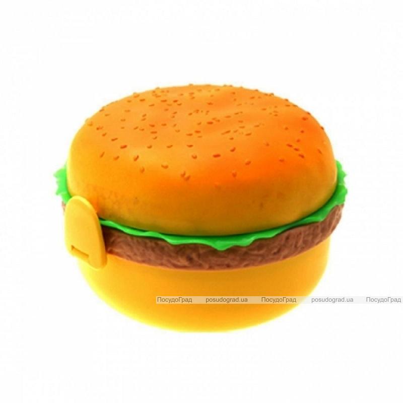 """Детский ланч-бокс """"Гамбургер"""" 1л с ложечкой и вилочкой"""