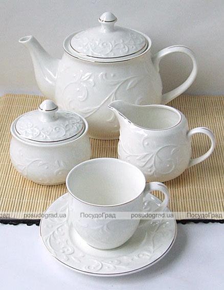 """Чайный набор """"Rococo"""" Белый 250мл 15 предметов на 6 персон"""