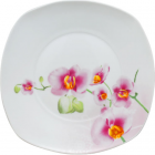 """Тарелка столовая мелкая """"Орхидея"""" квадратная 25см"""