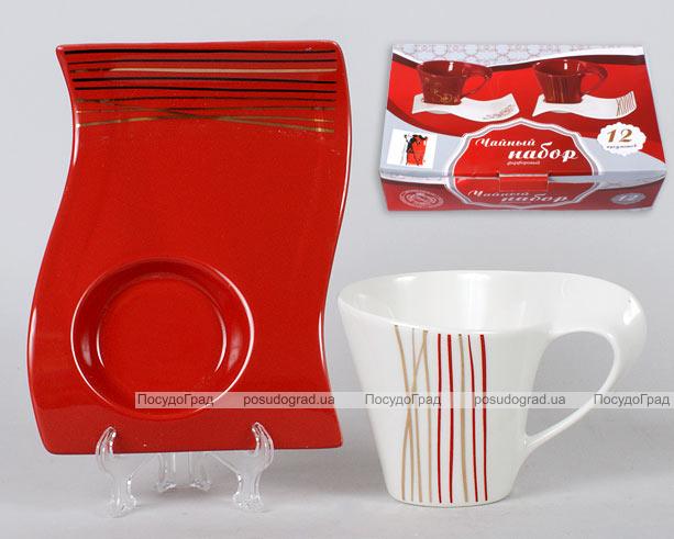 Чайный набор Gold&Red с прямоугольными блюдцами 12 предметов