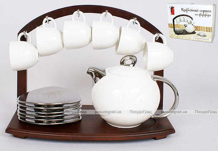 Кофейный набор 13 предметов: 6 чашек 80мл + 6 блюдец + чайник 700мл на бамбуковой подставке