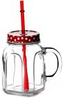 Банка Homemade для смузі і лимонаду 450мл скляна з жерстяною кришкою і трубочкою