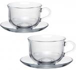 Чайний скляний набір Pasabahce Tashkent 2 чашки 290мл з блюдцями