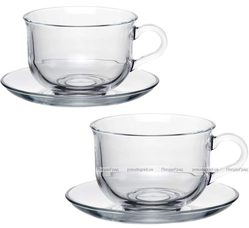 Чайный стеклянный набор Pasabahce Tashkent 2 чашки 290мл с блюдцами