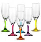 Набор бокалов для шампанского Bistro Color 190мл 6 фужеров с ножками из цветного стекла
