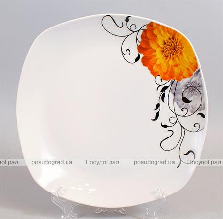 """Тарелка столовая мелкая 27,5см квадратная """"Жёлтый цветок, серебро"""""""