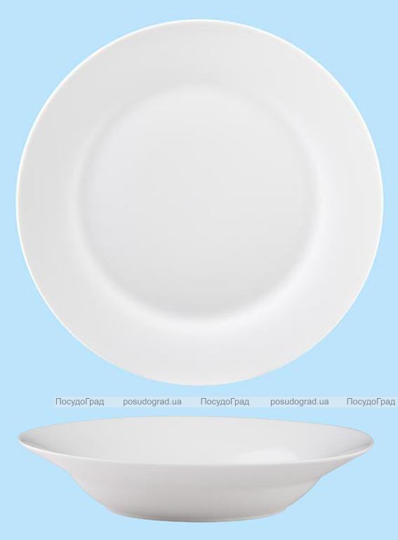 Тарелка суповая полупорционная 23 см круглая Белая, без рисунка