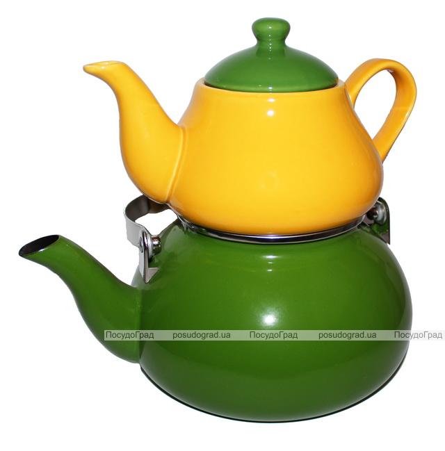 Набор чайников эмалированный 2,2л и керамический 0,75л