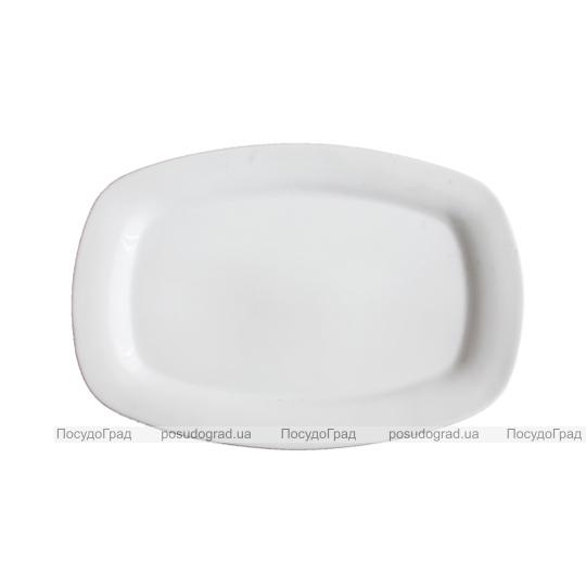 Блюдо сервировочное 20см прямоугольное Белое, без рисунка