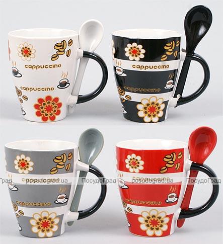 """Набор кружка с керамической ложкой 325мл """"Кофе/Цветы"""""""