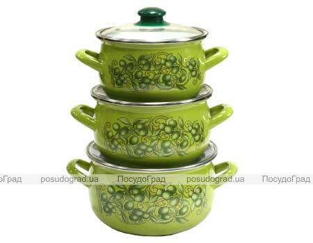 """Набор эмалированных кастрюль """"Оливки зеленые"""" 3 кастрюли со стеклянными крышками"""