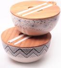 Миска з бамбукового волокна Kamille Ø24см з бамбуковою кришкою і приладами