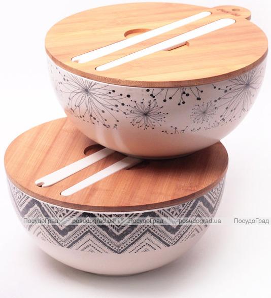 Миска из бамбукового волокна Kamille Ø24см с бамбуковой крышкой и приборами