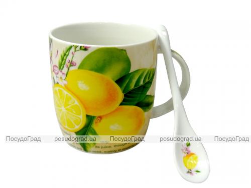 """Чашка с керамической ложкой """"Лимон"""" 390мл"""