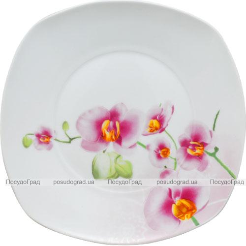 """Тарелка столовая мелкая """"Орхидея"""" квадратная 19см"""