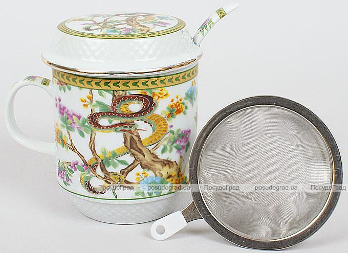 """Кружка-заварник 350мл с металлическим ситом и керамической ложкой """"Змея"""""""