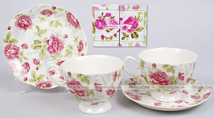 Чайный набор 4 предмета: 2 чашки 200мл + 2 блюдца