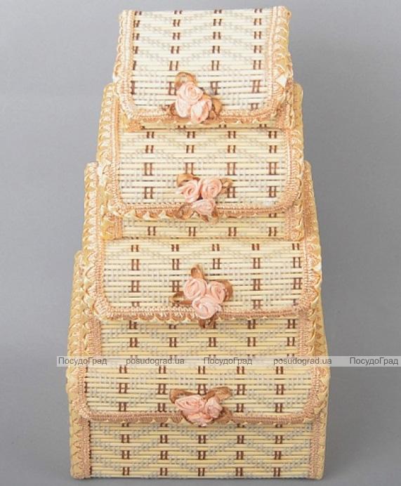 Набор 4 бамбуковые шкатулки ART Bamboo-5A Матрешка