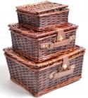 Комплект 3 кошики ART Bungalow для пікніка, плетена лоза