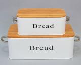 """Набір 2 металеві хлібниці """"Блок"""" Білий"""