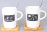 """Кружка керамическая """"Latte Macchiato"""" 320мл на деревянном блюдце с ложкой"""