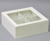 "Коробка-шкатулка ""White Heart"" для чаю та цукру, 4 секції, 18х18см"
