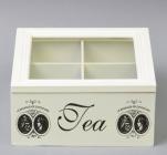 "Коробка-шкатулка ""Medallion around-4"" для чаю та цукру, 4 секції, 17х17см"