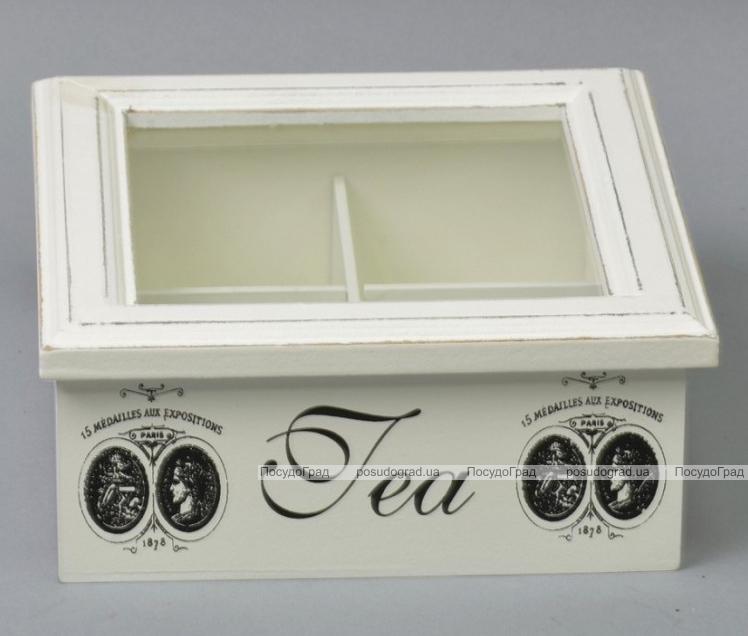 "Коробка-шкатулка ""Medallion"" для чая и сахара, 4 секции, 17х17см"