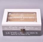 "Коробка-шкатулка ""La Petite Epicerie"" для чая и сахара, 4 секции, 10х24см"