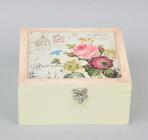 "Коробка-шкатулка ""Rose"" для чая и сахара, 4 секции, 17х17см"