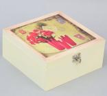 """Коробка-шкатулка """"Red Flowers"""" для чаю та цукру, 4 секції, 17х17см"""