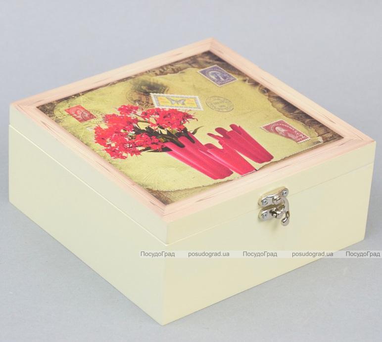 "Коробка-шкатулка ""Red Flowers"" для чая и сахара, 4 секции, 17х17см"
