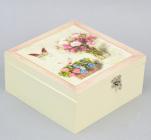 "Коробка-шкатулка ""Bouquet of Flowers"" для чаю та цукру, 4 секції, 17х17см"