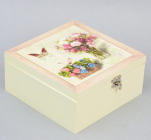 "Коробка-шкатулка ""Bouquet of Flowers"" для чая и сахара, 4 секции, 17х17см"