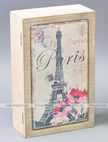 """Коробка-шкатулка """"Paris Poppy"""" для чая и сахара, 6 секций, 15х24см"""