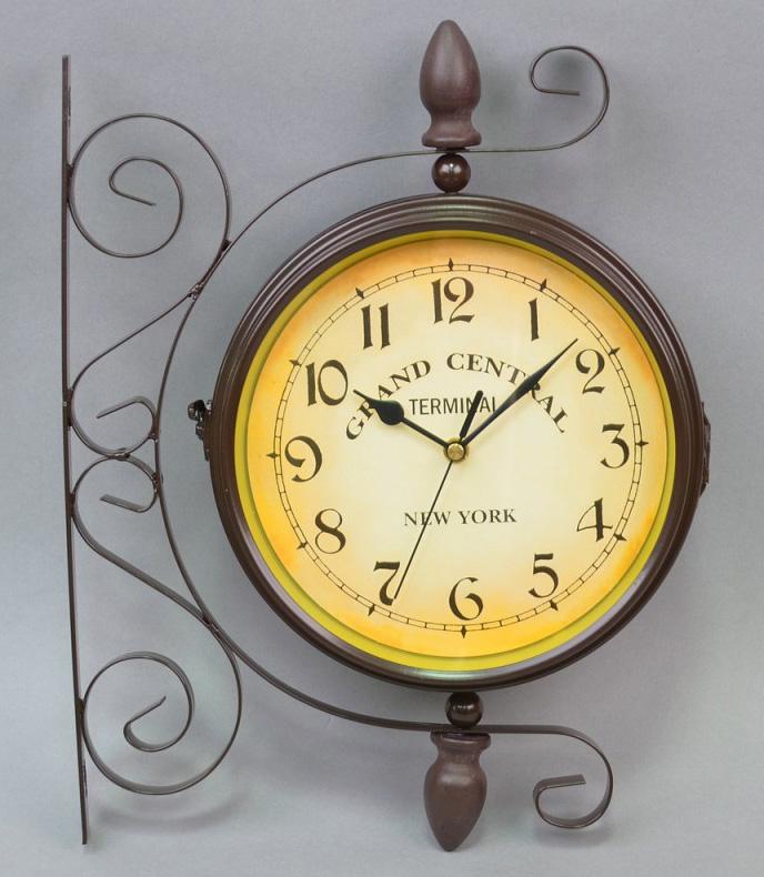 """Часы подвесные угловые """"New York"""" 35x29x10см коричневые"""