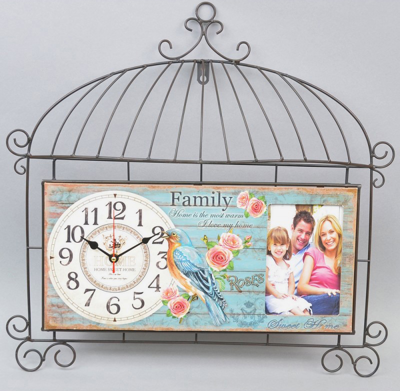"Часы настенные ""Lovely family"" 50x50см с фоторамкой шебби-шик"