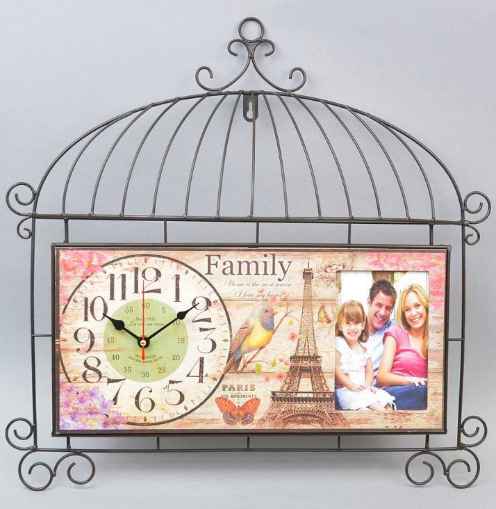 """Часы настенные """"Lovely family"""" с фоторамкой 50x50см Прованс"""