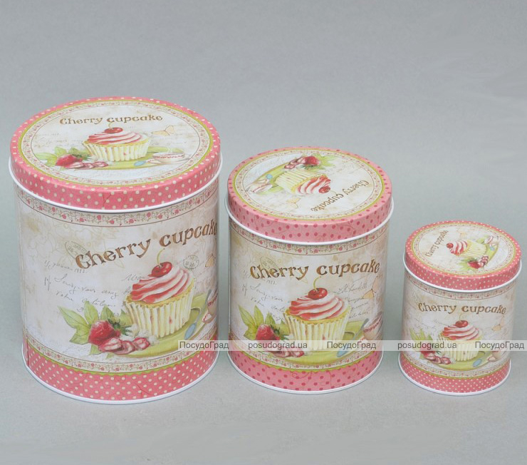 """Набор """"Cherry Сupcake"""" 3 круглые емкости для сыпучих"""