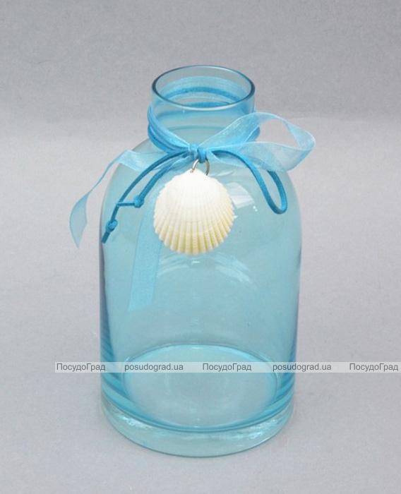 Ваза стеклянная Monophonic Bottle blue 19см
