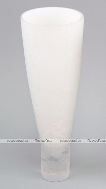 Ваза стеклянная Openwork Delicate Cone 34.5см Белая