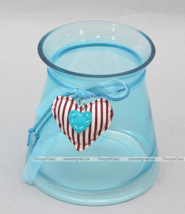 Ваза стеклянная Monophonic Bend blue 14см