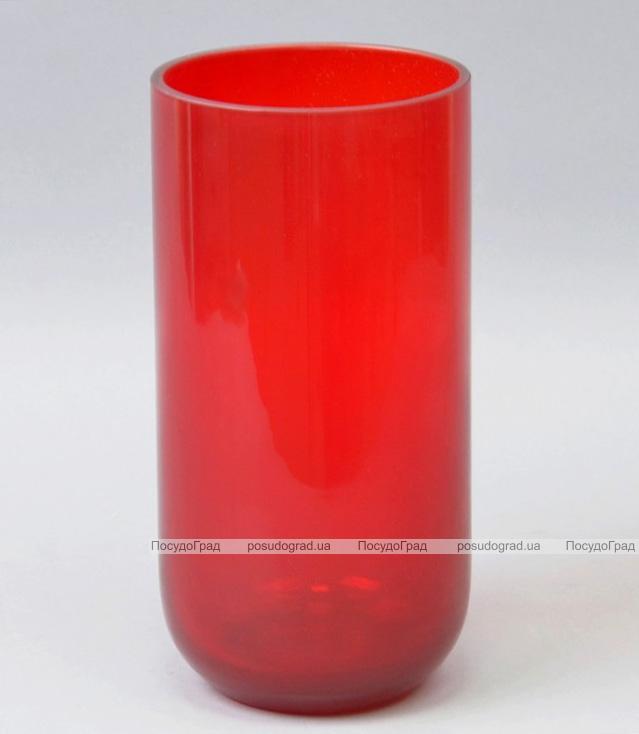 Ваза стеклянная Monophonic Chromatic cylinder 22см Красная