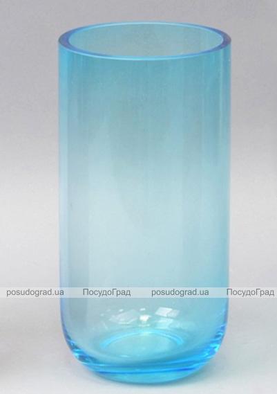 Ваза стеклянная Monophonic Chromatic cylinder 22см Голубая