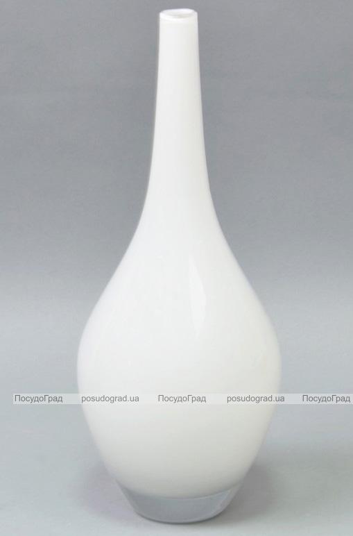 Ваза стеклянная Monophonic Elongated vessel 31см Белая