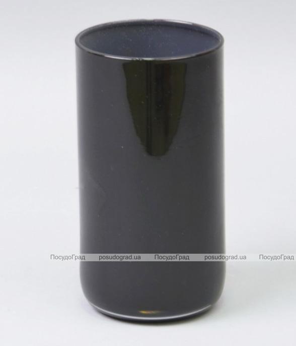 Ваза стеклянная Monophonic Chromatic cylinder 15см Черная