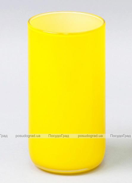 Ваза стеклянная Monophonic Chromatic cylinder 15см Желтая