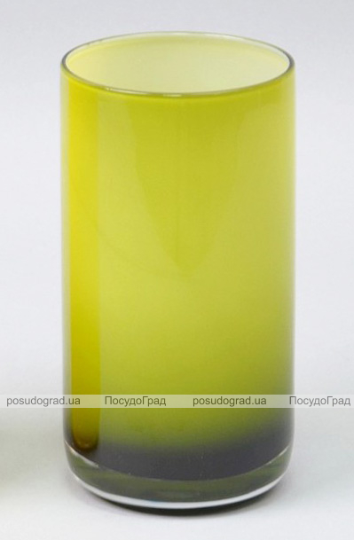 Ваза стеклянная Monophonic Chromatic cylinder 15см Оливковая