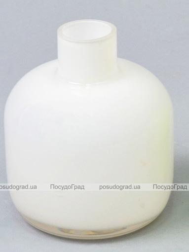Ваза стеклянная Monophonic Chromatic flask 11см Белая