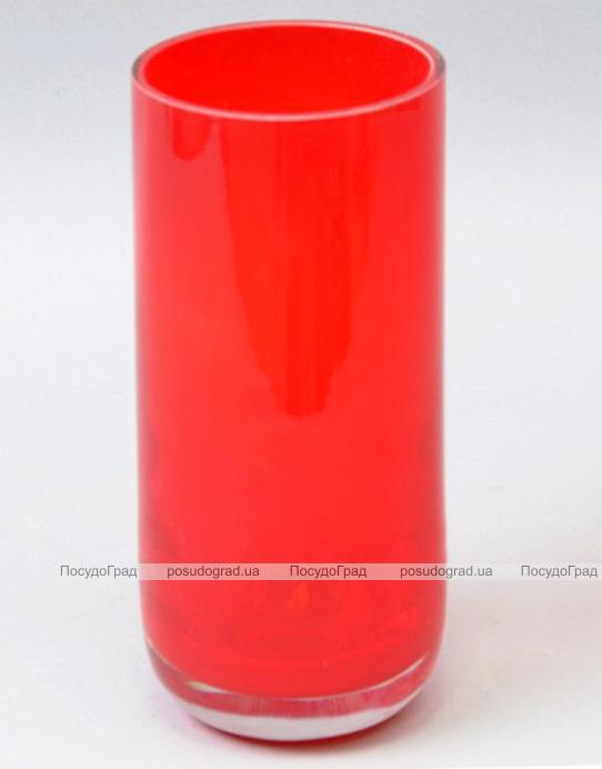 Ваза стеклянная Monophonic Red cylinder 19см